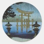 Arte japonés Ukiyo-e de Woodblock de la lluvia de  Etiqueta Redonda
