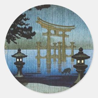 Arte japonés Ukiyo-e de Woodblock de la lluvia de Pegatina Redonda