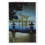 Arte japonés Ukiyo-e de Woodblock de la lluvia de  Tarjeton