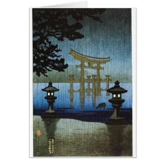 Arte japonés Ukiyo-e de Woodblock de la lluvia de  Tarjeta De Felicitación