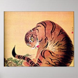Arte japonés Ukiyo-E de Woodblock del tigre