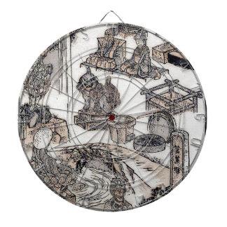 Arte japonés Ukiyo-E de Woodblock del vintage de l Tablero De Dardos