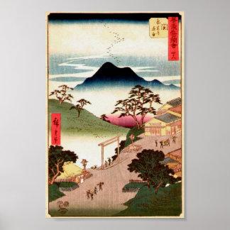 Arte japonés Ukiyo-E del pueblo w/Mountain Woodblo