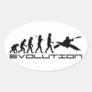 Arte Kayaking de la evolución del deporte acuático Calcomanía Ovaladas Personalizadas