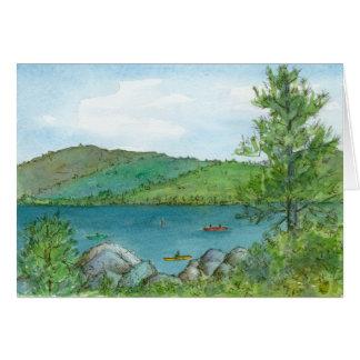 Arte Kayaking de Lanscape de la acuarela del lago Tarjeta De Felicitación