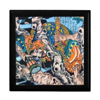 Arte legendario antiguo japonés fresco del guerrer caja de regalo