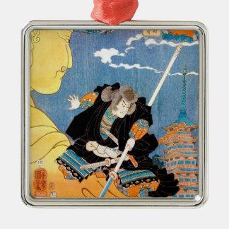 Arte legendario japonés fresco del samurai del adornos de navidad