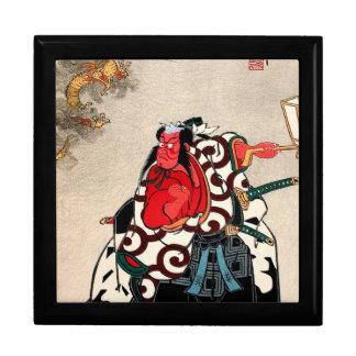 Arte legendario japonés fresco del samurai del gue cajas de joyas