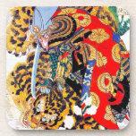 Arte legendario japonés fresco del tigre de la luc posavasos de bebidas