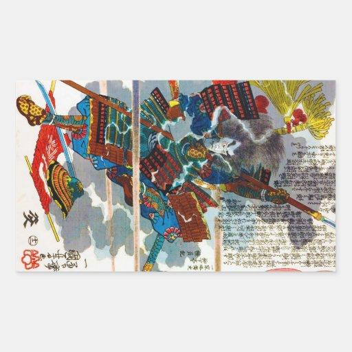 Arte legendario japonés orental fresco de Bushi de Rectangular Pegatina