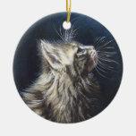 Arte ligero de la pintura del gato de Maine Coone  Ornamento Para Arbol De Navidad