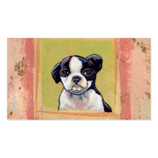 Arte lindo adorable del perro de perrito de Boston Tarjetas Personales