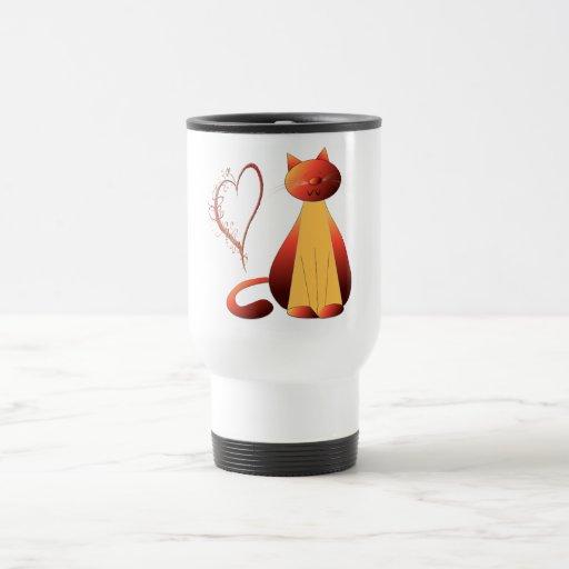 Arte lindo de Digitaces del gato del jengibre del  Tazas De Café