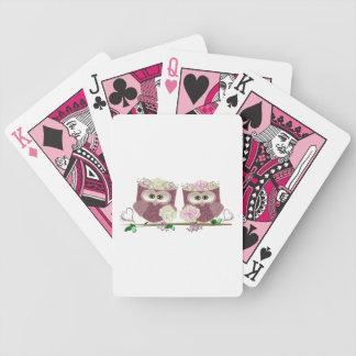 Arte lindo de dos de las novias búhos del boda cartas de juego