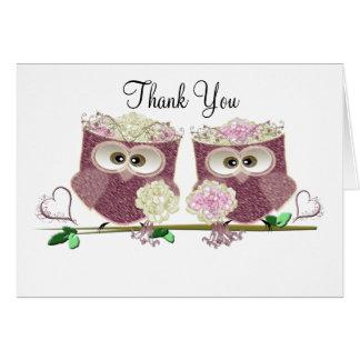 Arte lindo de dos de las novias búhos del boda tarjeta de felicitación