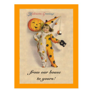 Arte lindo de Halloween del vintage con el texto Tarjeta Postal