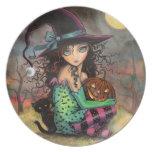 Arte lindo de la bruja y del gato de Halloween Plato Para Fiesta