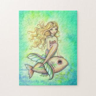 Arte lindo de la fantasía de la sirena y de los pe rompecabeza con fotos