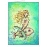 Arte lindo de la fantasía de la sirena y de los pe tarjetas