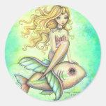 Arte lindo de la fantasía de la sirena y de los pegatina redonda
