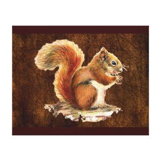 Arte lindo de la naturaleza animal de la ardilla r impresión en lona