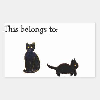Arte lindo de los gatos negros pegatina rectangular