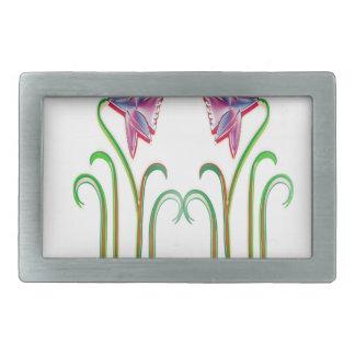 Arte lindo del ejemplo de 2 flores en 100 regalos hebilla cinturón rectangular