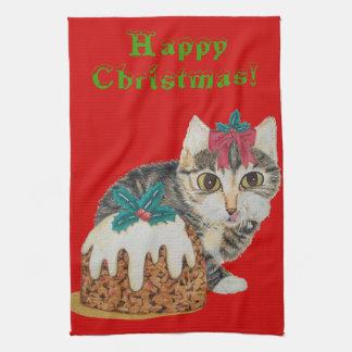 arte lindo del gatito del navidad y toallas de coc