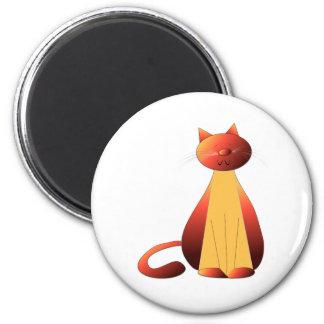 Arte lindo del gato del jengibre imán redondo 5 cm