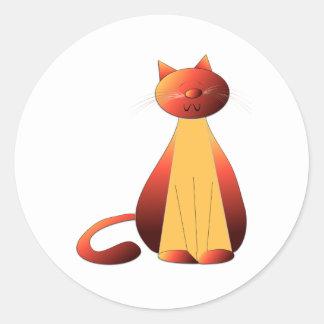 Arte lindo del gato del jengibre pegatina redonda