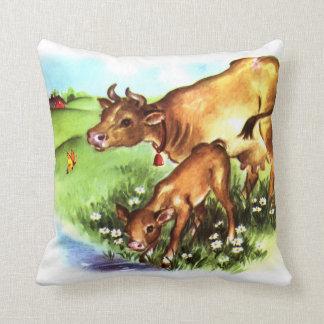 Arte lindo del guión del vintage de la vaca de la  cojin