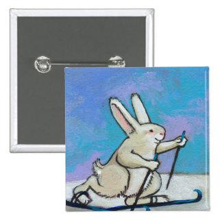 Arte lindo del invierno de la diversión del conejo pin cuadrado