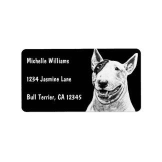 Arte lindo del perro de bull terrier etiquetas de dirección