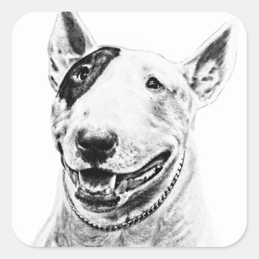 Arte lindo del perro de bull terrier colcomanias cuadradas
