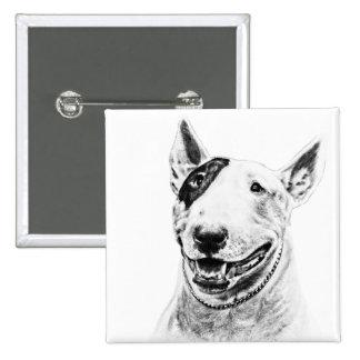 Arte lindo del perro de bull terrier pin cuadrado