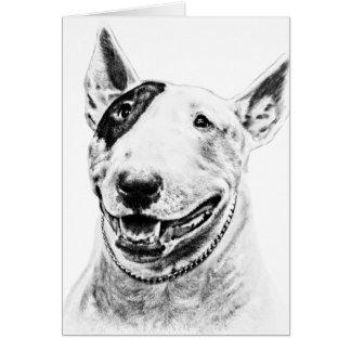 Arte lindo del perro de bull terrier tarjeton