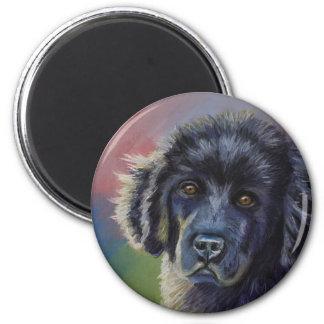 Arte lindo del perro de perrito de Terranova - Imán Redondo 5 Cm