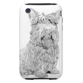 Arte lindo del perro de Terrier del escocés Tough iPhone 3 Carcasas