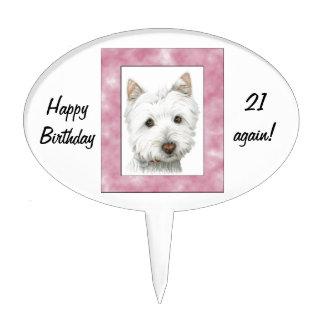 Arte lindo del perro de Westie en marco rosado Figura De Tarta