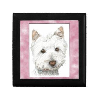 Arte lindo del perro de Westie en marco rosado Caja De Recuerdo