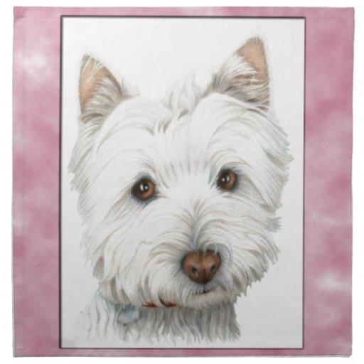Arte lindo del perro de Westie en marco rosado Servilletas