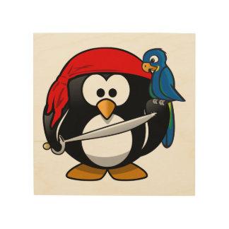 Arte lindo del pingüino del pirata cuadros de madera