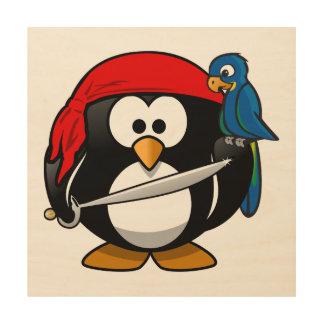 Arte lindo del pingüino del pirata cuadro de madera