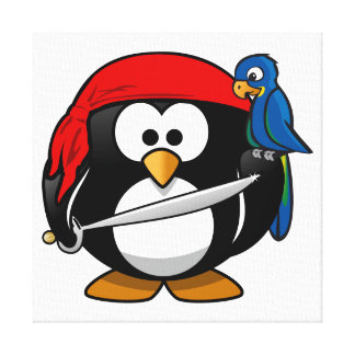 Arte lindo del pingüino del pirata impresión en tela