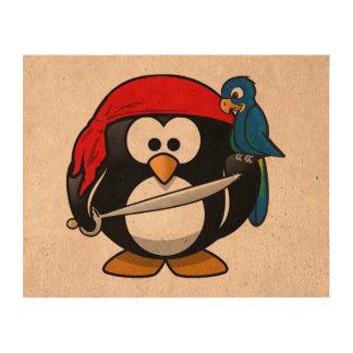 Arte lindo del pingüino del pirata impresión en corcho
