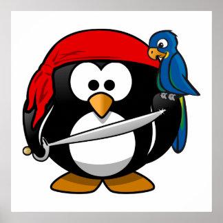 Arte lindo del pingüino del pirata póster