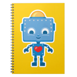Arte lindo del robot retro en el cuaderno