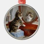 Arte lindo del vintage del gato del gatito adorno