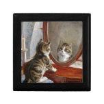 Arte lindo del vintage del gato del gatito de Fran Caja De Joyas