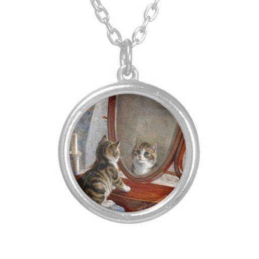 Arte lindo del vintage del gato del gatito de Fran Colgante Personalizado